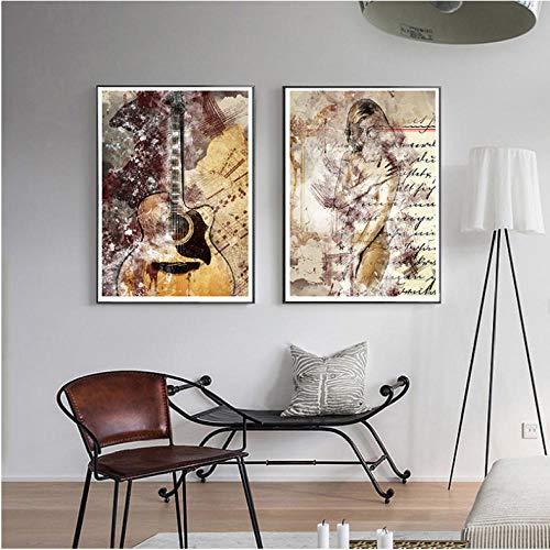 Kleur Schilderij Poster Gitaar Canvas Schilderij Abstract Beauty Wall Art Foto's voor Woonkamer Moderne Decoratieve Prins 1 Bestel 40x50cmx2 ongekweekt