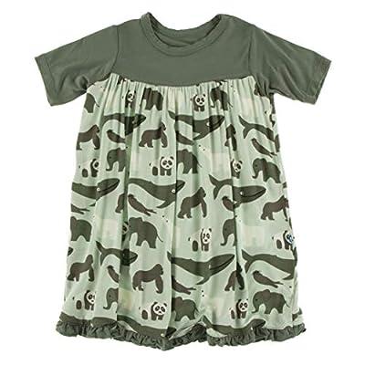 KicKee Pants Print Classic Short Sleeve Swing Dress (Aloe Endangered Animals - 3T)