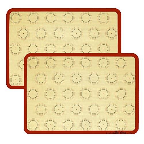 Silikon Macaron Backmatte Cookie Blatt Set (2) Antihaft-Kochmatte Liner für Makronen Kuchen Brot machen Mikrowelle Toaster Backblech Pfanne, 42x29,5 cm