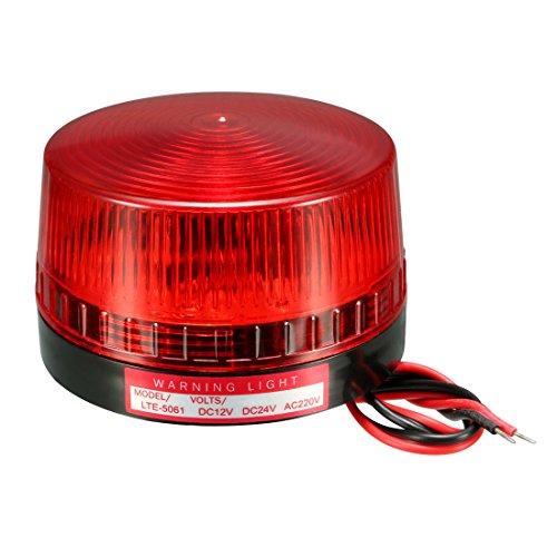 sourcing map Bombilla de luz de advertencia tipo LED intermitente giratoria Lámpara Torre Industrial de señal AC 220V rojo LTE-5061