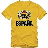 España Campeonato De Europa 2016#2 Camiseta | T-Shirt | Fútbol | Hombre | Jersey | La Furia Roja | Equipo Nacional, Colour:Yellow (Gold);Size:X-Large