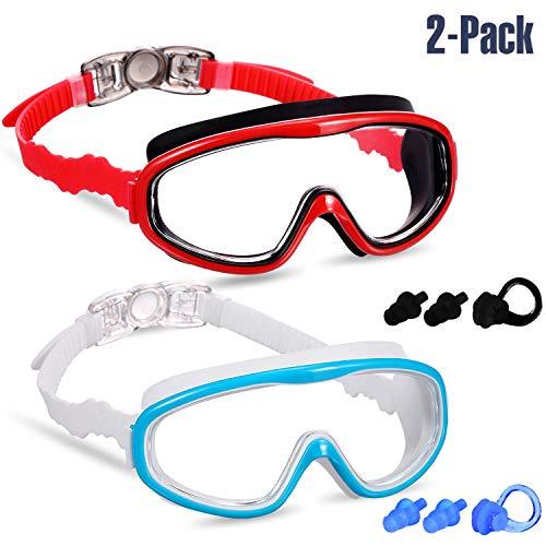 Yizerel 2er-Pack Kinder Schwimmbrille Schwimmbrille für Kinder und Jugendliche von 3 bis 15 Jahren, Weitsicht, Anti-Beschlag, wasserdicht, UV-Schutz, Blue/White & Red/Black