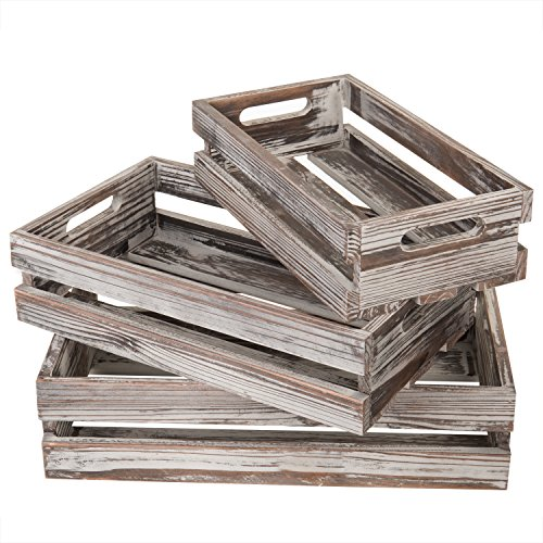 MyGift Country Rustic Nesting Torched Wood Storage Crates with Handles, Set of 3