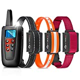 Paipaitek Training Collar for 3 Dogs, No Shock Dog Training Collar with Remote for Large Small Deaf Puppy Dogs,3300ft Range Vibrating Dog Collar, IPX7 Waterproof Beeping Dog Collar
