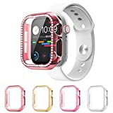 Wiki Valley Compatible with Apple Watch Case Series 6/SE/5/4 40mm,Bling Crystal Diamonds Protective Cover PC Tempered Glass Integrated Protective Shell for Girl Women(4 Pack)
