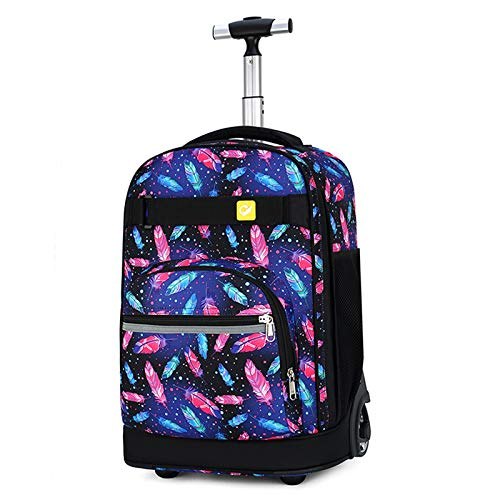 LHY EQUIPMENT Backpack Student Oxford Cloth Trolleycan Climbing Trolley Backpack Waterprooflarge Capacity Stylish Trolley School Bag for Grades 5-6,E