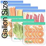 Dishwasher Safe Reusable Gallon Freezer Bags-7 Pack,Reusable Silicone Food Storage Bags BPA Free, Extra Thick Leakproof & Plastic Free Bags For Meat Fruit Vegetables
