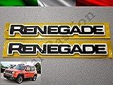Coppia Scritte Stemmi Loghi Jeep Renegade Laterali Originali destro e sinistro nero lucido Side Emblem