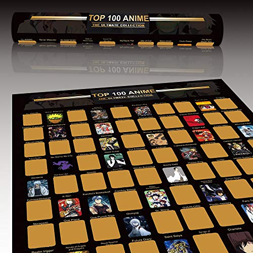 Top 100 Anime Scratch Off Poster - Anime Bucket List   Premium and Artistic Icons   Great Gift For Anime Enthusiasts (16.5' x 23.4')