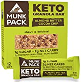 Munk Pack Keto Granola Bars with 1g Sugar, 2g Net Carbs | Keto Snacks | Chewy & Grain Free | Plant Based, Paleo-Friendly | Gluten Free, Soy Free | No Sugar Added (Almond Butter Cocoa Chip, 12 Pack)