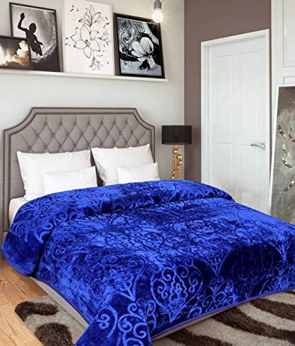 Warmland Double Bed Mink Embossed Blanket - Blue