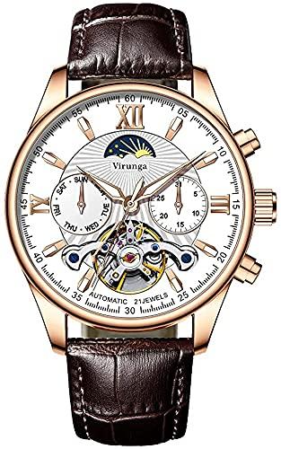 ZFAYFMA Reloj de pulsera para hombre, 18 K, automático, mecanismo de giro, automático, sumergible hasta 50 m
