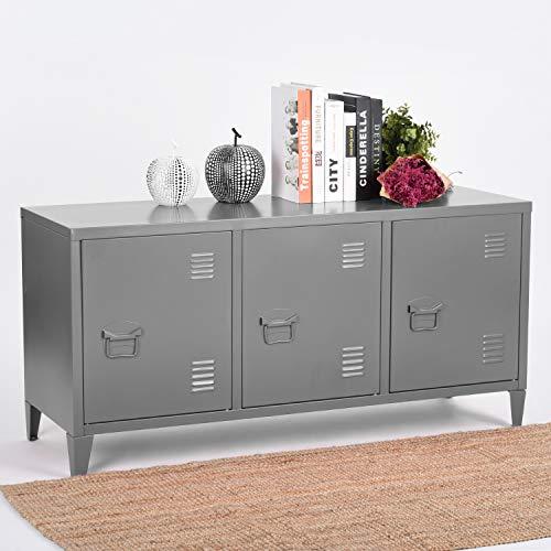 Steel Storage Cabinet, Heavy Duty Metal Office Storage Cupboard Locker Cabinet, 2 Levels Open Storage Shelves with 3 Doors for Home Office Study Bedroom Living Room(Red, 120 cm ×40cm×58cm)