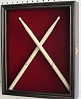 Drum Stick Display Case Shadow Box Wall Cabinet, with door. (Mahogany)