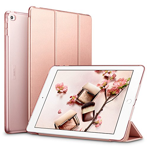 ESR Yippee Smart Case for The iPad Air 2, Smart Case Cover [Synthetic Leather] Translucent Frosted Back Magnetic Cover with Auto Sleep/Wake Function [Light Weight] (Rose Gold)