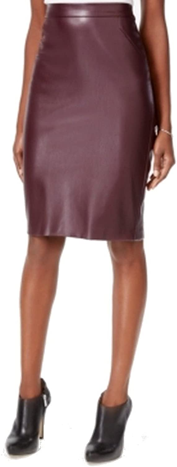 Bar III Womens Faux Leather Back Slit Pencil Skirt