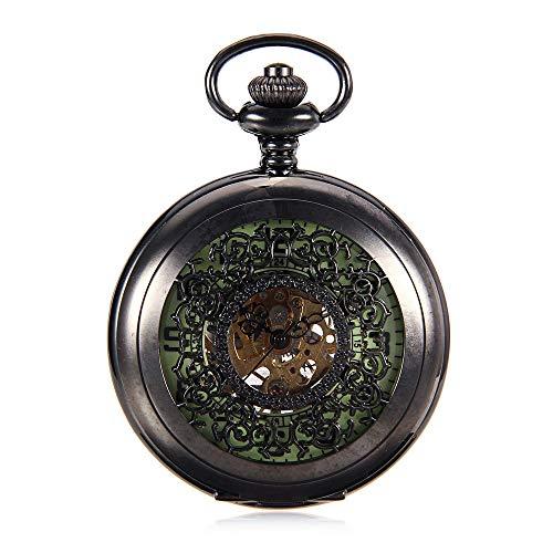 Orologio da tasca Orologio da taschino da uomo retro colore pistola modello vuoto Flip Quadrante luminoso Arabo Orologio da tavolo meccanico da grande personaggio ( Color : Black , Size : 4.7x1.5cm )