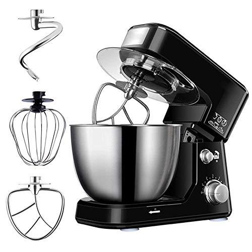 Mixer/keukenrobot voor bakken, roestvrijstalen mengkom van 4 liter, 6 variabele snelheden, zwart - inclusief spatscherm, deeghaak, klopper en garde voor cake, beslag, brood, desserts en meer 600W