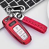 ontto Funda para llave de coche para Audi A6L A7 A8 Q8 E-tron A4 C8 Q8 D5 E-tron S3 A3 e-tron Sportback Q7 60 TFSI carcasa de llave de TPU funda para llave de coche con 3 botones, color rojo