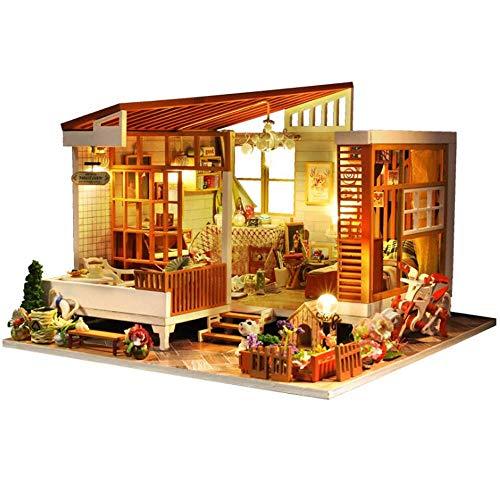 DWLXSH Miniatura de madera DIY Kits Dollhouse modelo de juguete con muebles y accesorios de bricolaje Dollhouse Kit Plus Artesanías miniatura de los juguetes gran regalo de cumpleaños for los adolesce