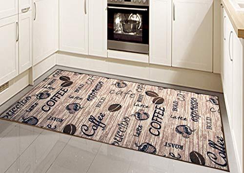 CARPETIA Küchenteppich Küchenläufer Coffee waschbar beige Größe 67x180 cm