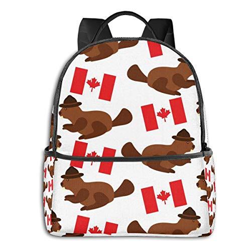 Rucksack mit Vogelmotiv, Gitarre, High School Jungen, Outdoor, Radfahren, Mädchen, hohe Kapazität, Diebstahlschutz Gelb Biber mit kanadischer Flagge Einheitsgröße