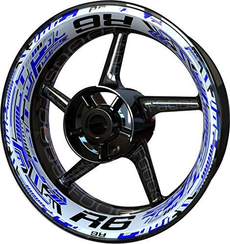 Motocicleta Moto Llanta Inner Rim Tape Decal Pegatinas F2 para Yamaha YZF R6 YZFR6 YZF-R6 (Azul/Blanco)