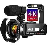 ビデオカメラ 4K デジタルビデオカメラ HDR 48MP WIFI機能 16倍デジタルズーム IR夜視機能 予備バッテリーあり 3.0インチタッチモニター 外部マイク ハンドルグリップ 手持ちスタビライザー 日本語取扱説明書 (4800万画素)