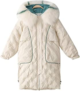 Winter Women's Cotton Suit, Versatile Loose Hooded Cotton Jacket, Long Thick Padded Pike Coat (Color : Apricot, Size : L)