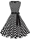 Gardenwed Women's Audrey Hepburn Rockabilly Vintage Dress 1950s Retro Cocktail Swing Party Dress Black White Dot M