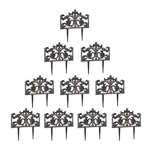 Relaxdays 10er Set Beetzaun Gusseisen, mit Erdspieß, einfaches Stecksystem, Zierzaun, HxBxT: 37 x 36 x 2 cm, Bronze