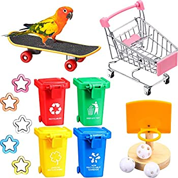 12 Pieces Bird Training Toy Set Includes Bird Skateboard Toy Garbage Cans Bird Basketball Toy Mini Shopping Cart Plastic Star for Parrots Training and Playing