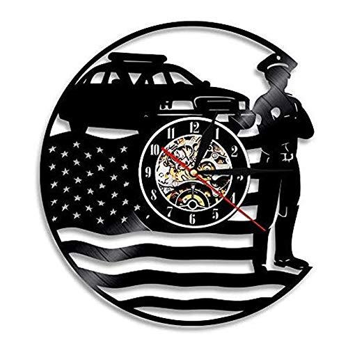 qweqweq Reloj de Pared con Disco de Vinilo de policía, diseño Moderno, decoración 3D, Reloj de Vinilo, Reloj de Pared para Dormitorio Infantil, decoración del hogar, Regalos de policía