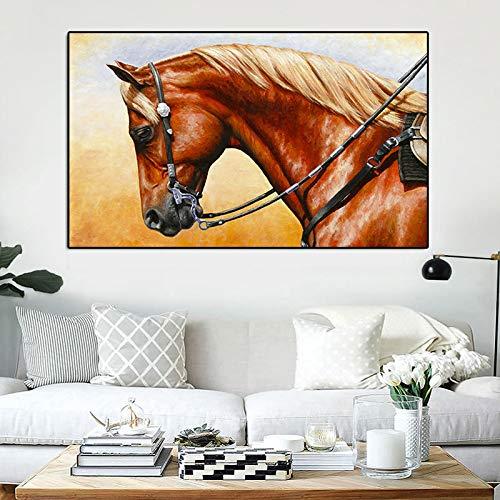 Scandinavisch linnen olieverfschilderij poster dierdruk olieverfschilderij paard loopt muurkunst afbeelding woonkamer bed hoofddecoratie frameloos schilderij