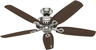 Hunter Indoor Ceiling Fan, with pull chain control - Builder Elite 52 inch, Brushed Nickel, 53241