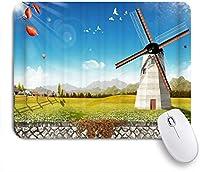 VAMIX マウスパッド 個性的 おしゃれ 柔軟 かわいい ゴム製裏面 ゲーミングマウスパッド PC ノートパソコン オフィス用 デスクマット 滑り止め 耐久性が良い おもしろいパターン (美しい田舎の牧草地の風車のデザイン)