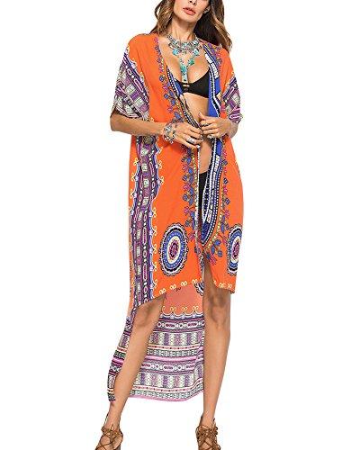 Guiran Femmes Kimono Boho Longue T-Shirt Top Cardigan Blouse Cache-Maillots Robe De Plage Orange Une Taille