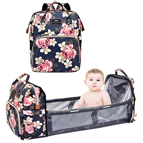Diaper Bag Backpack with Auto Folding Crib Shade Cloth Mattress Large Capacity Waterproof MultiFunctional Baby Bassinet Diaper Backpack Organizer with Diapers Changing Station