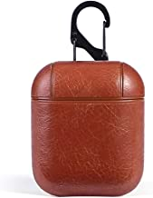 Croiky Leather Skin Fit Vintage Matte Leather Hook Case Cover Compatible with Apple Airpods Protective - Brown