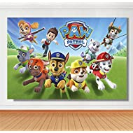 Cartoon Paw Patrol Theme Photography Backdrops Kids Children Happy Birthday Party Decotation Photo Green Grass Background Studio Props Banner Vinyl 5x3ft