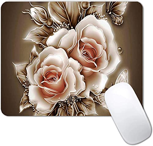 Rose Gold Floral Mouse Pad Non-Slip Rubber Base Gaming MousePads for Computers Laptop Office,Cute Mouse Pads with Designs for Women ,9.5'x7.9'x0.12'( 240mm x 200mm x 3mm)