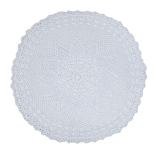 kilofly Handmade Crochet Cotton Lace Table Sofa Doily, Waterlily, White, 26 inch