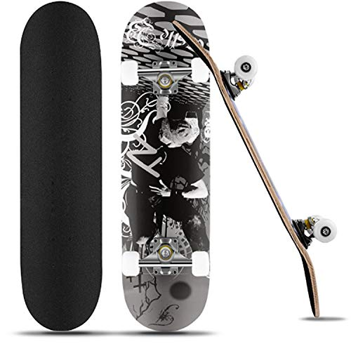Skateboard Komplettboard31 x 8 Zoll für Kinder Jugendliche Erwachsene Anfänger, 9 Lagiger kanadischen Ahorn mit ABEC-7-Kugellagern hochelastischen PU-Rädern bis 100Kg unterstützt (schwarz)
