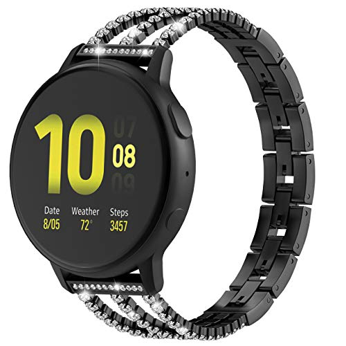 TiMOVO Correa 20mm Compatible con Galaxy Watch 42mm/Active 2/Active/Gear Sport/Garmin Vivoactive 3/Vivomove/HR, Pulsera de Aleación con Incrustaciones de Diamantes Ajustable Respirable - Negro