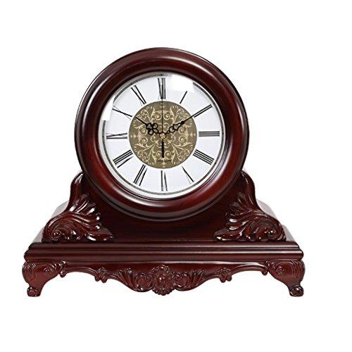JCOCO Horloge de table en bois massif, rétro américain, horaire, créatif, silencieux, non-tick, grande horloge, décoration de la chambre salon (Couleur : Roman numerals)