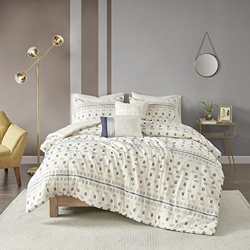 "Urban Habitat Cozy Duvet - Casual Textured Trendy Design, All Season Comforter Cover Bedding Set with Matching Shams, Decorative Pillow Auden Cotton Jacquard Aqua Full/Queen(88""x92"") 5 Piece"
