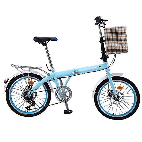 Mini bicicleta de montaña plegable ligera, bicicletas de velocidad de cercanías con freno en V, amortiguador de bicicleta plegable Frenos de disco doble Bicicleta de estudiante, acero de alto carbono