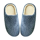 iTemer 1 Doble cómodo hogar Suave Fondo Inferior Zapatillas de Color Caramelo Zapatillas de Felpa otoño e Invierno artículos para el hogar Azul Profundo B 42/43