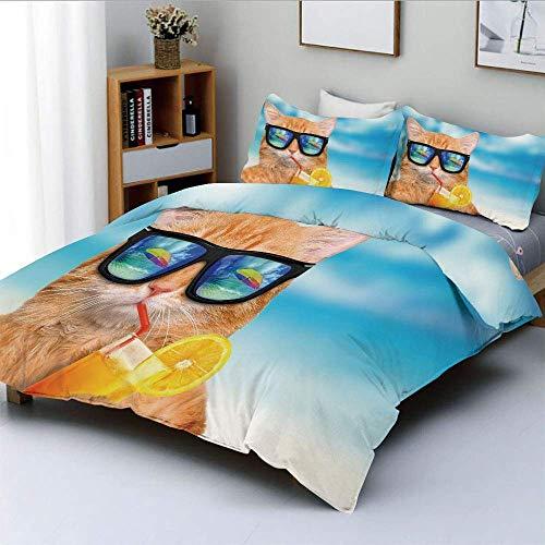 Juego de funda nórdica, gafas de sol con gato Gato cóctel relajante en el fondo del mar Imagen de gatito de verano Juego de cama decorativo de 3 piezas con 2 fundas de almohada, jengibre azul, el mejo