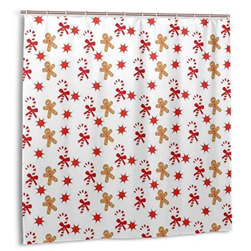 DIYAB Duschvorhang,Candy Cane Bowties Roter Stern Weihnachtsplätzchen-Muster,wasserdicht hochwertige Qualität Duschvorhänge inkl 12 Ringe